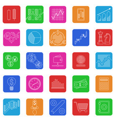 Set of stock forex icons finance investing icon vector