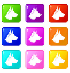 Shepherd dog icons 9 set vector