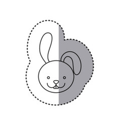small sticker of grayscale contour with face of vector image