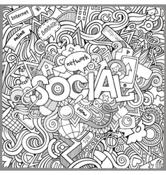 Social hand lettering and doodles elements vector image