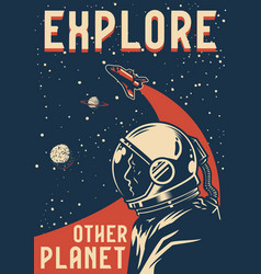 space exploration colorful poster vector image