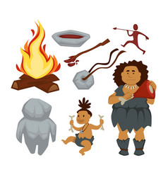 stone age primitive people and devices woman and vector image