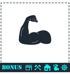 Strong flex arm icon flat vector image