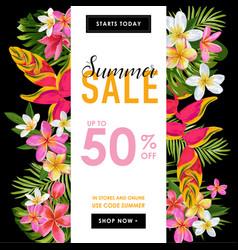 summer sale tropical banner seasonal promotion vector image
