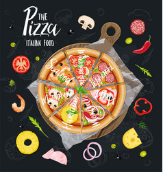 the pizza itallian slices without background vector image