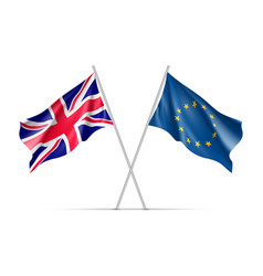 the united kingdom and european union waving flags vector image