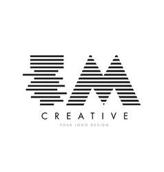 Tm t m zebra letter logo design with black and vector