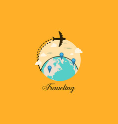 Travel icon with element collection vector