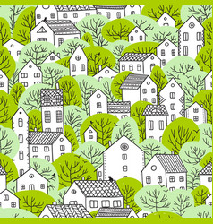 Trees and houses seamless pattern spring light vector