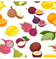 tropical fruits set seamless pattern citrus lemon vector image