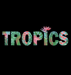 tropics t-shirt print with exotic flowers and vector image