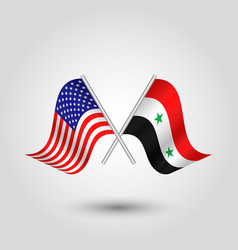 Two crossed american and syrian flags vector