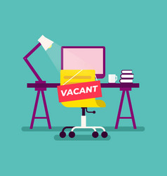 Vacant sign hung on chair empty office vector