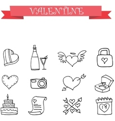 Valentine element with hand draw vector image