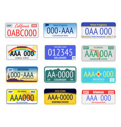 vehicle registration plates set vector image