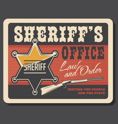 Western sheriff badge and gun vector