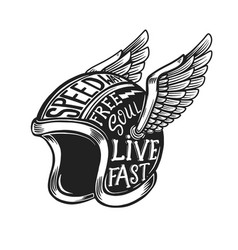 winged motorcycle helmet with lettering on light vector image