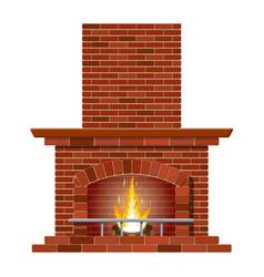 winter interior bonfire fireplace made of bricks vector image