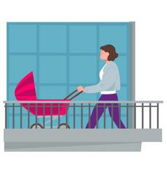 Woman on balcony with perambulator with kid vector