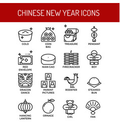chinese new year outline icons vector image
