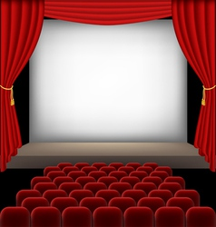 Cinema auditorium with red seats and curtains vector image vector image
