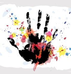hand print on ink splatter background vector image vector image