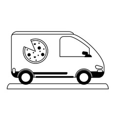 pizza car silhouette vector image vector image