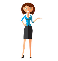 smiling office woman in suit presents something vector image