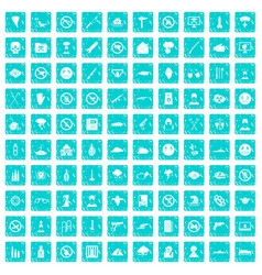 100 tension icons set grunge blue vector image vector image