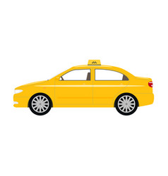 cartoon car yellow taxi vector image vector image