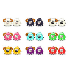 cartoon cute funny colored sheep and ram vector image