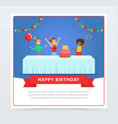 cute kids celebrating birthday with cake happy vector image vector image