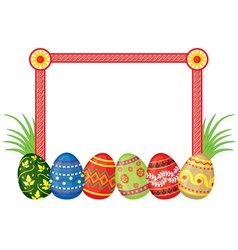 Frame with Easter eggs vector image