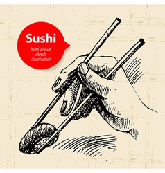 Hand drawn sushi Sketch background vector image vector image