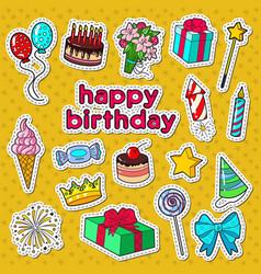 happy birthday party decoration doodle vector image