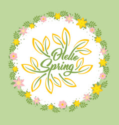 hello spring beautiful greeting card with flowers vector image vector image