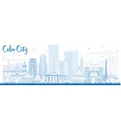Outline cebu city philippines skyline with blue vector