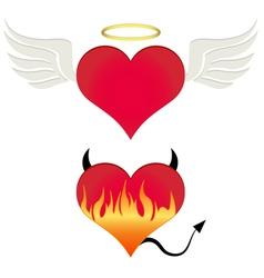 Angel-devil heart vector image