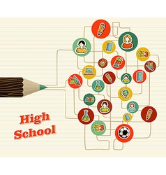 Back to school icons education pencil vector image vector image