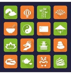 China icons set flat vector image