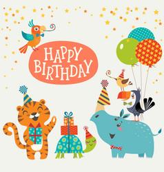 Cute jungle animals happy birthday card vector