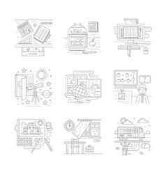 Flat line school theme icons vector image