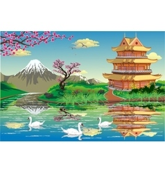 Japanese Palace on a river with swans in black and vector image vector image