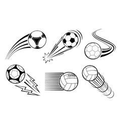 Soccer and football balls for labels emblems vector image vector image