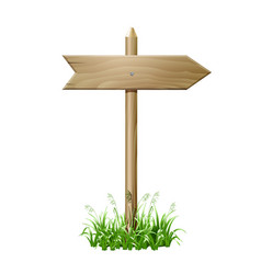 wooden signboard in a grass vector image