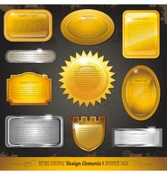 Golden luxury labels and banners collection set vector image vector image