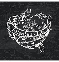 Hand drawn heart chalkboard design vector image