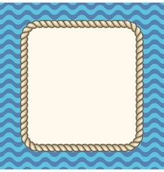 Sea waves background with a rope frame vector image vector image