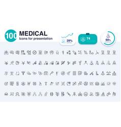 100 medical line icon vector