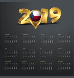 2019 calendar template czech republic country map vector